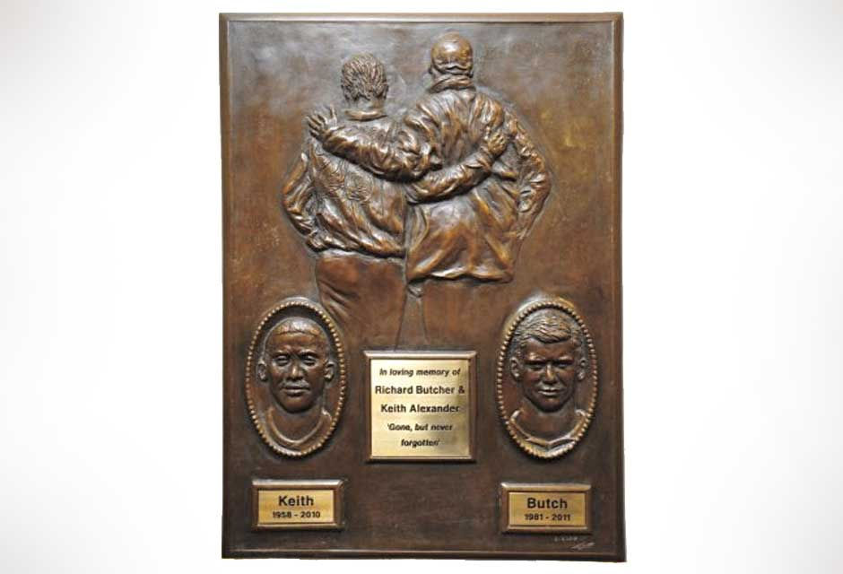 Bronze portrait sculpture of Keith and Butch