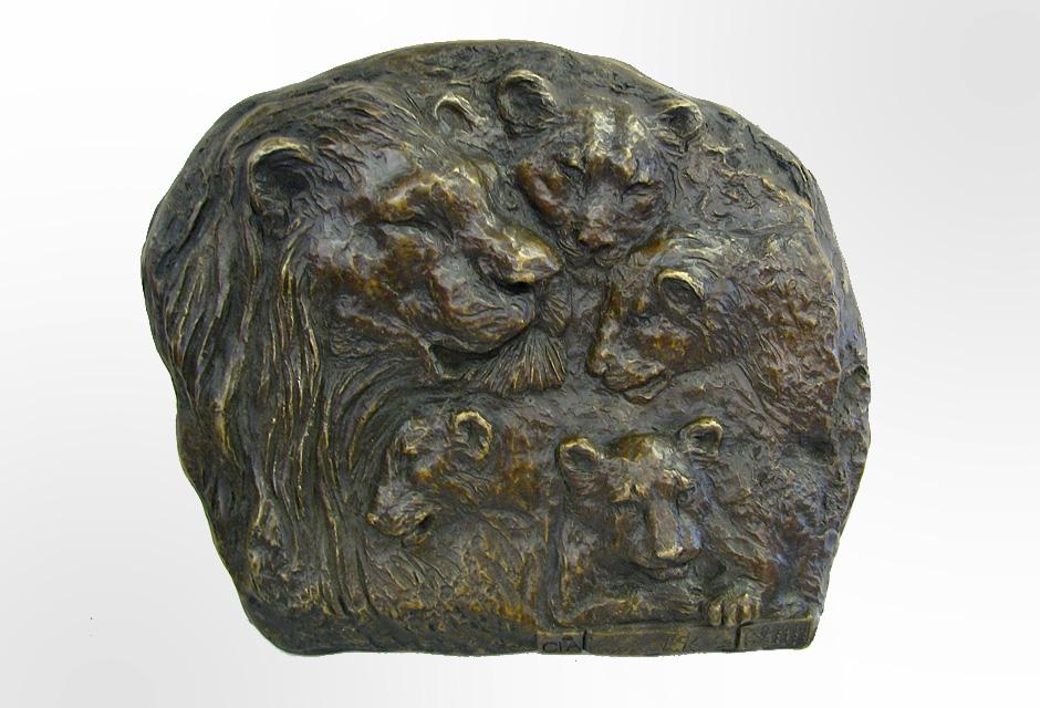Bronze Lion Plaque Sculpture / Bas Relief