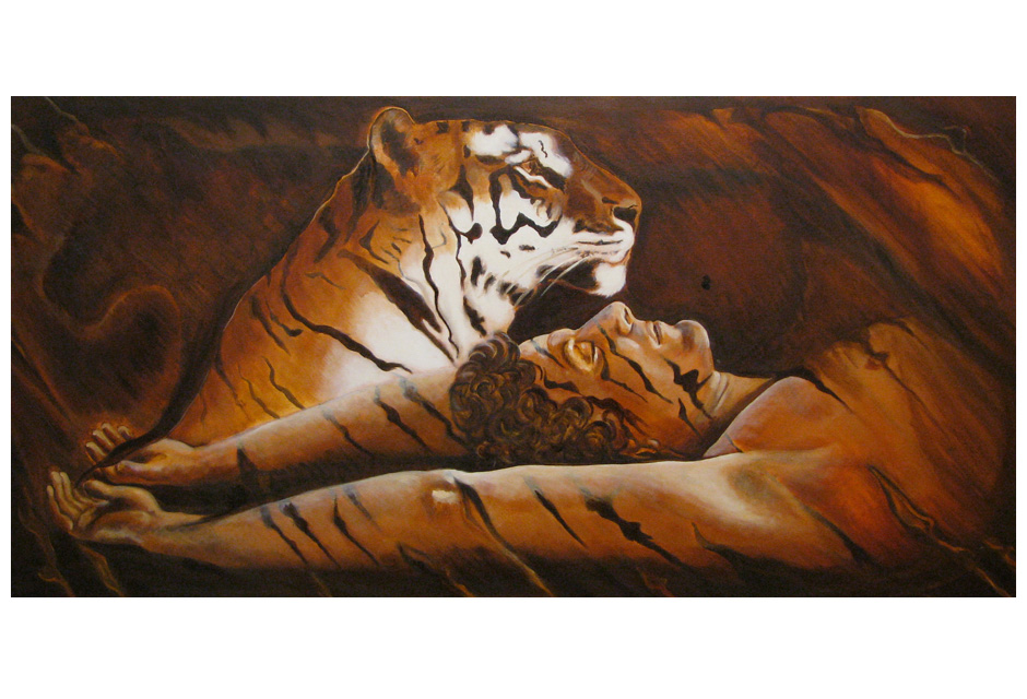 'Tiger Painting' in oil on canvas