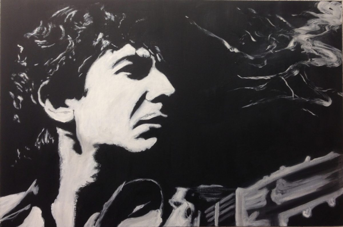 Oil painting of Leonard Cohen