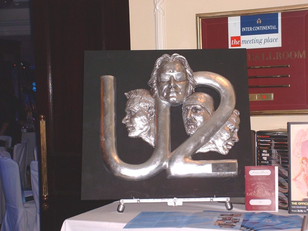 U2 at Nordoff Robbins Charity event - display for live auction