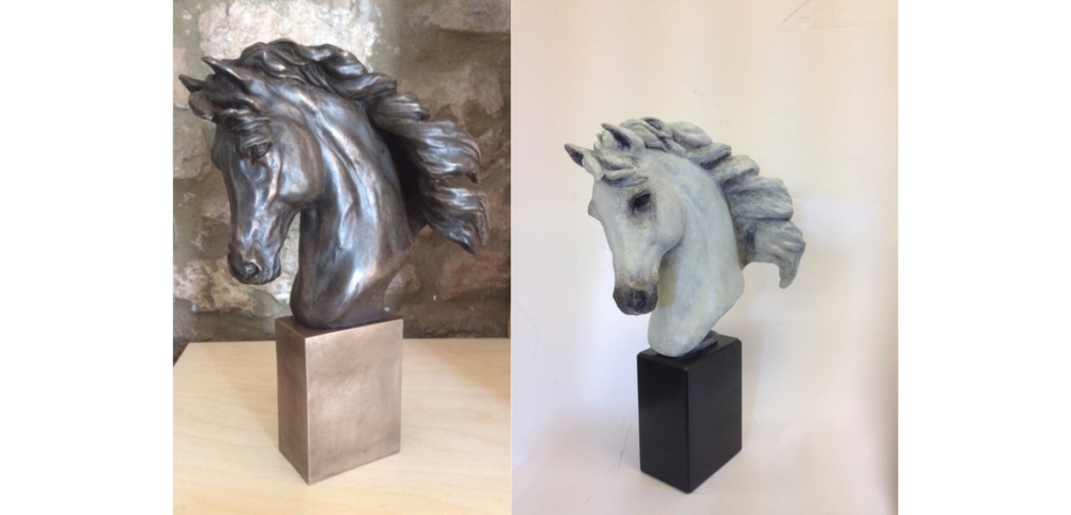 Dual Horse Head Sculpture